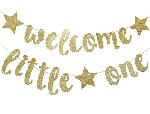 (Welcome Little One Glitter Gold Banner, Baby Shower, Gender Reveal Party, Glitter Party Decor)