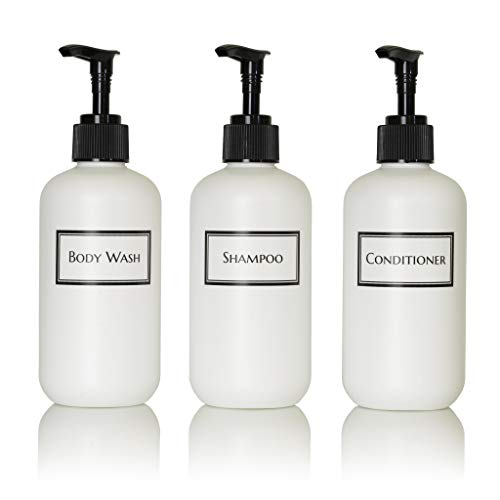Artanis Home Silkscreened Empty Small Shower Bottle Set for Shampoo, Conditioner, and Body Wash, 8 oz 3-Pack, White (Black Pumps)