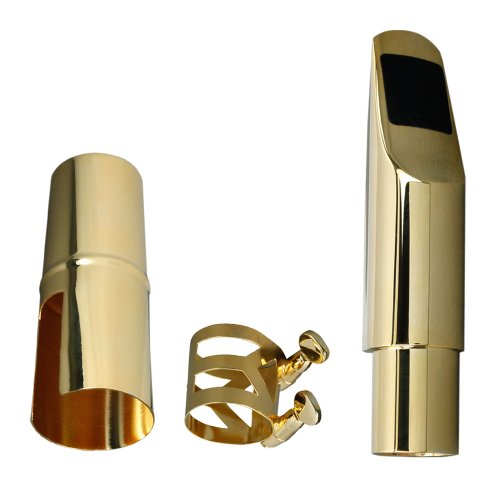 Soprano Saxophone Mouthpiece #5 with Cap and Ligature Gold Plated - 2