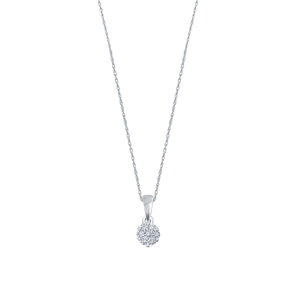 La Joya 1 10ct Round White Natural Diamond 10K White Gold 7 Stone Diamond Flower Pendant Necklace for Teens Womens