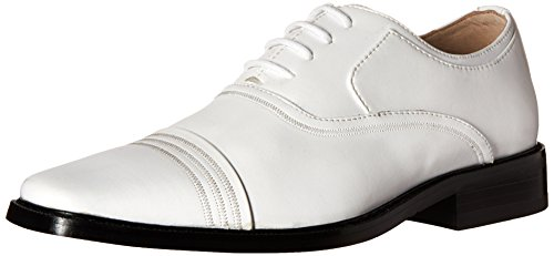 STACY ADAMS Bingham-Boys-K, White, 4.5 M US Big Kid Boys White Dress Shoes