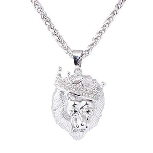 (Clearance!Fashion Strands Chain,Leewos Lion Tag Pendant Full Iced Out Rhinestone Cuban Hip Hop Necklace (Silver))