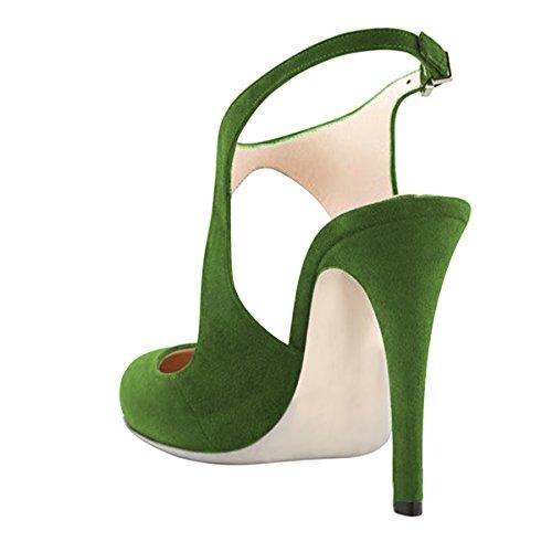 Fsj Donne Stiletto Stiletto Tacchi Alti Sandali Scarpe A Punta Fibbia Partito Scarpe Da Ballo Taglia 4-15 Us Verde Oliva