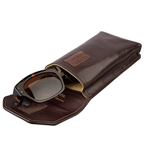 Maxwell Scott® Luxury Italian Men's Leather Glasses Case (Gabbro), Brown