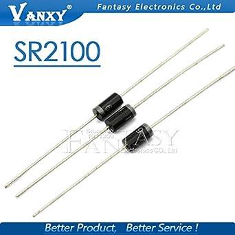 50PCS SR2100 SB2100 2A 100V DIP Schottky Diodes NEW