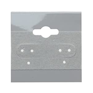 Beadaholique 100-Piece Earring Hang Cards, 1.5 by 1.5-Inch, Grey Flocked