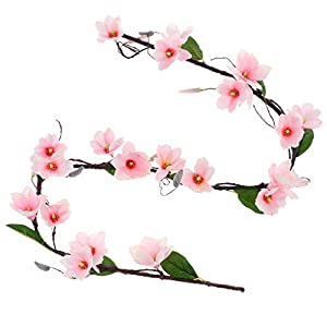 SM SunniMix Artificial Vine Magnolia Indoor Outdoor Garland Wedding Party Home Decor Suitable for Wedding Parties Home Decorations Bookstore Cafe Store Cloth Shop - Light Pink 111