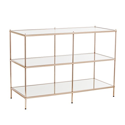 Knox Console Table - Metallic Gold Metal Frame w/ Glass Tops - Glam Style Décor (For Glass Tv Table)