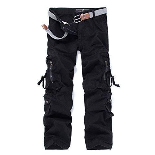 GUSER Men's Cotton Washed Baggy Army Travel Outdoor Cargo Pants Black 34