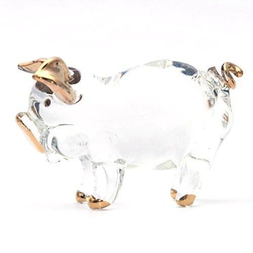 Blown Glass Pig (Pig Clear Gold Hand Blown Glass Art Figurine Ornaments Home Decor)