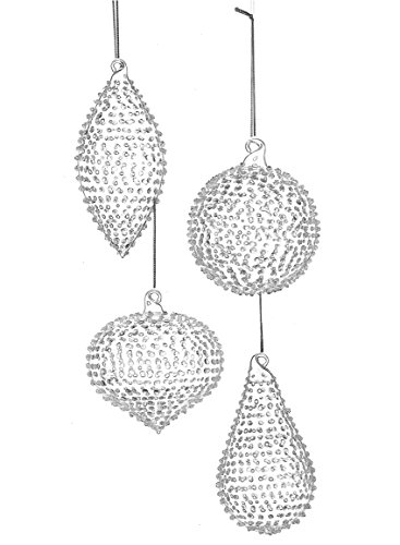 - Sullivans Ball Drop Dots Clear 4 inch Hand-Blown Glass Christmas Ornaments, Set of 4