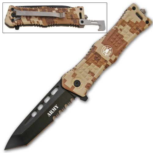 CLD164 8 Inch Tanto Blade Trigger Assisted Knife- Desert Camo Army folding knife