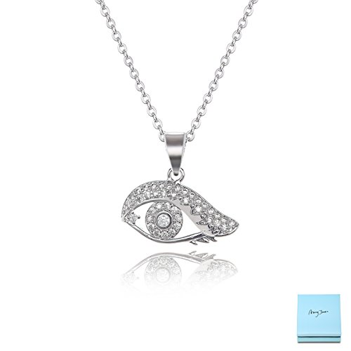 (AMYJANE Cubic Zirconia Evil Eye Necklace - Sterling Silver Small CZ Eye Necklace for Women Crystal Pendant Necklace Elegant Jewelry for Girls Good Luck Gift Idea Costume)