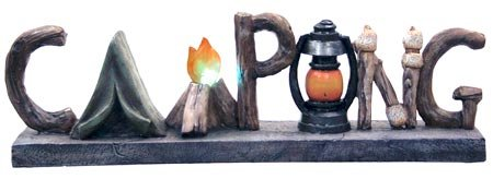 Night Light Decorative Camping Messenger Table Shelf Sign Word Sculpture, 12.5