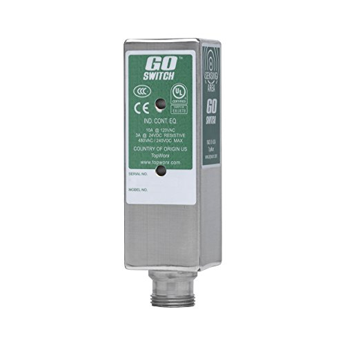 GO Switch 11-12528-DCA UL General Purpose, 14 mm Sensing Distance, SPDT Proximity Sensor 304 SS 4A/24VDC, 10A/120VAC, Limit Switch Style, 3-pin mini change quick disconnect, 1.5'' x 1.5'' x 5'' by GO-SWITCH (Image #1)