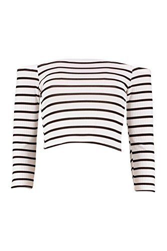 Boohoo Womens Andrea Striped Off The Shoulder Rib Crop Top In White Size - Off Boohoo 20
