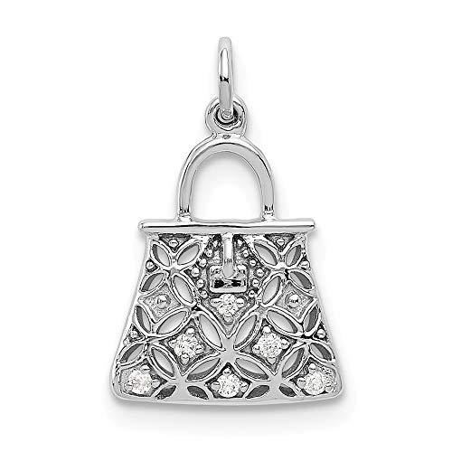 - 14k White Gold Diamond Purse Charm Pendant from Roy Rose Jewelry
