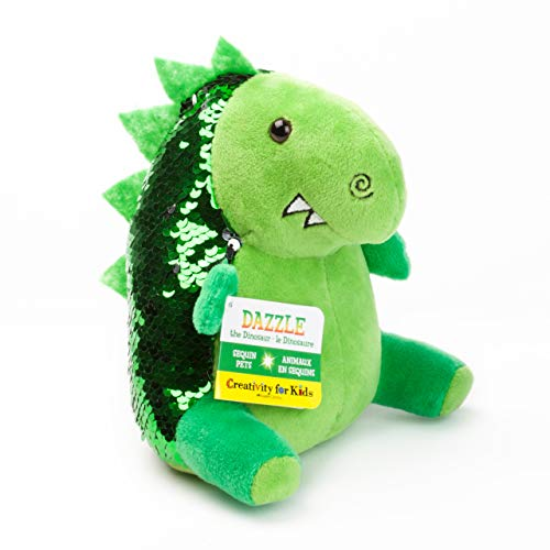 Creativity for Kids Mini Sequin Pets - Dazzle The Dino Plush Toy - Dinosaur Stuffed Animal
