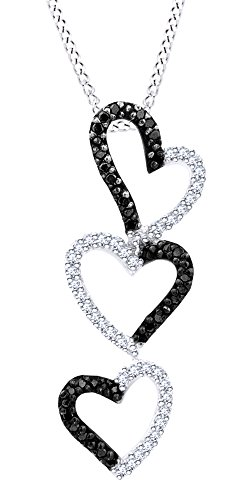 - 1/4 Cttw Round Cut White & Black Natural Diamond Heart Journey Pendant Necklace In 10K Solid White Gold