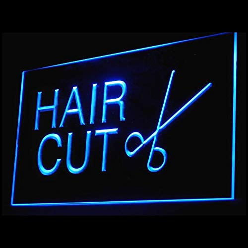 160007 Hair Cut Barber Shop Scissors Mirror Brush Display LED Light Sig