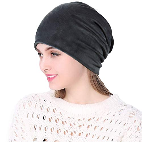 KCPer Unlimited Slouchy Snood-Cancer Pile Heap Velvet Stretch Turban Hat Knitt Head Scarf Wrap Grey