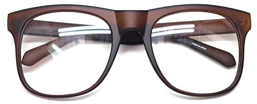 Big Square Horn Rim Eyeglasses Nerd Spectacles Clear Lens Classic Geek Glasses (Brown8919, - Big Nerdy Glasses
