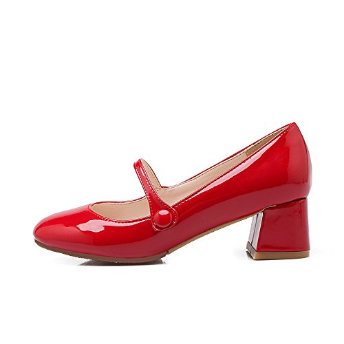 Pull Women's Toe On Closed Heels Square Shoes Pumps Red WeenFashion Solid Kitten 01app
