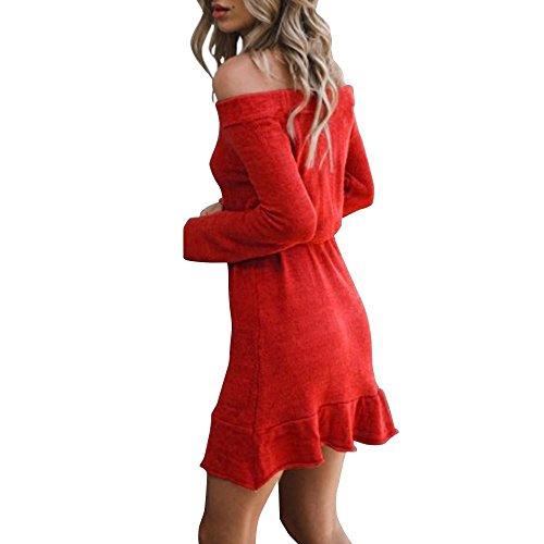 MCYs Damen Blusen Pullover Streetwear Schulterfrei Strickendes Rüschen Langarm Minikleid Loses Sweatshirt Pullover Srandkleid Lose Kleid Rot ooTW0pg