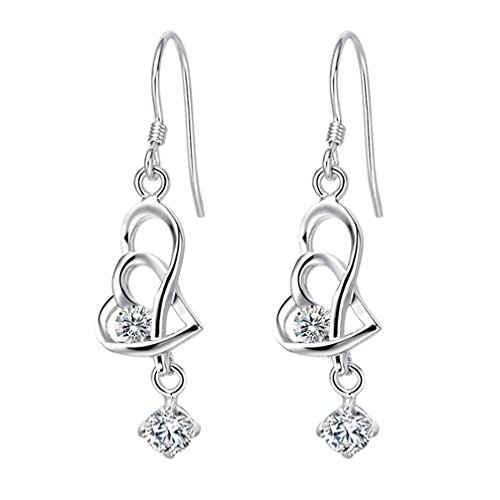 FENDINA Womens Elegant 925 Sterling Silver Plated Swarovski Element Crystal Double Hearts Drop Dangle Earrings (Double Heart Dangle Earrings)