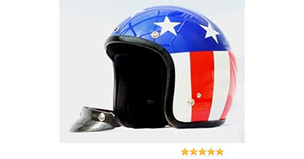 Casco Jet pequeño y homologado, diseño con bandera de EEUU Small azul/ blanco/rojo: Amazon.es: Coche y moto