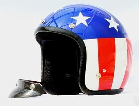 Casco Jet pequeño y homologado, diseño con bandera de EEUU L azul/ blanco/rojo: Amazon.es: Coche y moto