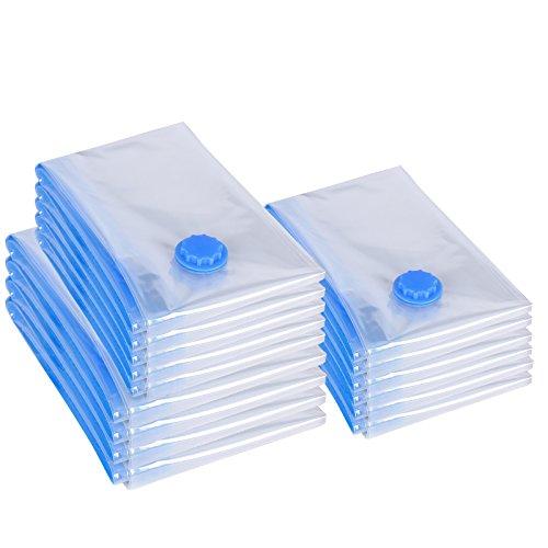 Songmics 15 tlg Set Vakuumbeutel für Kleidung transparent 3 Verschiedene Größen RVM15T