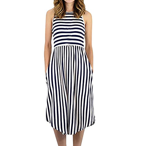 Women's Stripe Sveless High Waist Pockets Swing Casual Flare di Dress Beach Long Dress Elegant Party Dress Black