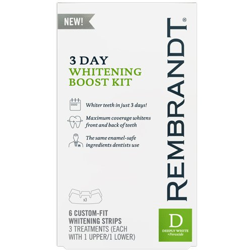 Rembrandt 3 Day Teeth Whitening Kit, 6 Custom Fit Whitening Strips