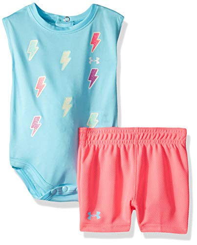(Under Armour Baby Girls Bodysuit OR Infant Tee/Tank Short Sets, Venetian Blue-S19, 6-9 Months)