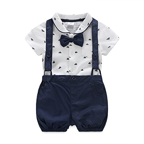 Baby Boys Gentleman Outfits Suits, Infant Short Sleeve Onesies+Bib Pants+Bow Tie Clothing Sets Deep Blue