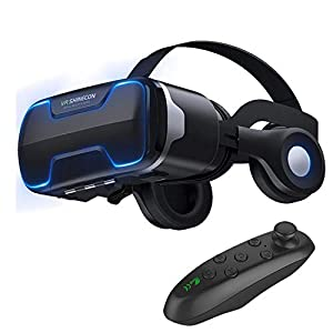 Best Epic Trends 41XK5NCMtuL._SS300_ 3D VR Glasses Virtual Reality Headset Goggles w/ Headphones & Controller for iPhone 11 Pro XR XS X 8 7 6S 6 Plus Samsung…