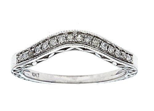 10k White Gold Curved Vintage Style Diamond Band (1/10 cttw, I-J Color, I2-I3 Clarity)