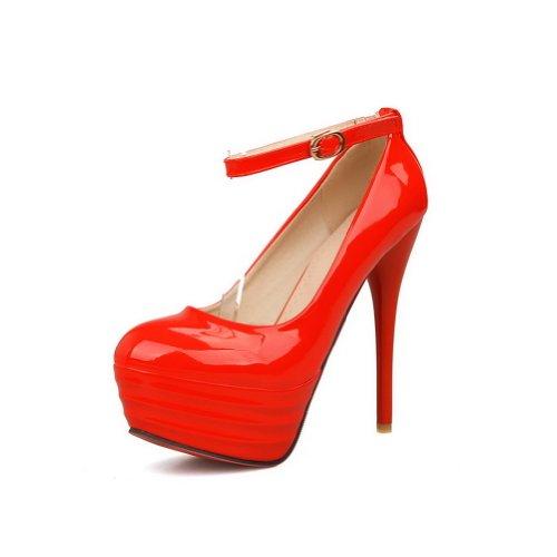 Adee - Sandali con Zeppa donna, Rosso (rosso), 35