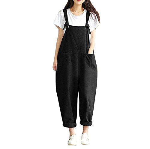 ZOMUSA 2017 Hot Sale Womens Loose Knitted Jumpsuit Strap Belt Bib Trousers Overall Pants (L, (Wide Waistband Jumper)