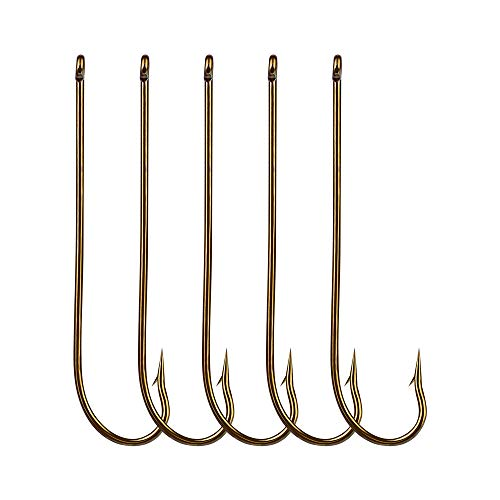 Z&S 100pcs Long Shank Fishing Hooks High Carbon Steel Fly Tying Jig Hooks Super Sharp Barbed Hook Tips Tan Color 13 Sizes for Choice