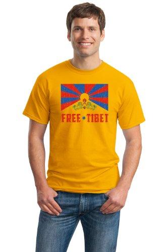 FREE TIBET Unisex T-shirt / Vintage Look Tibetian Peace Freedeom Tee Shirt