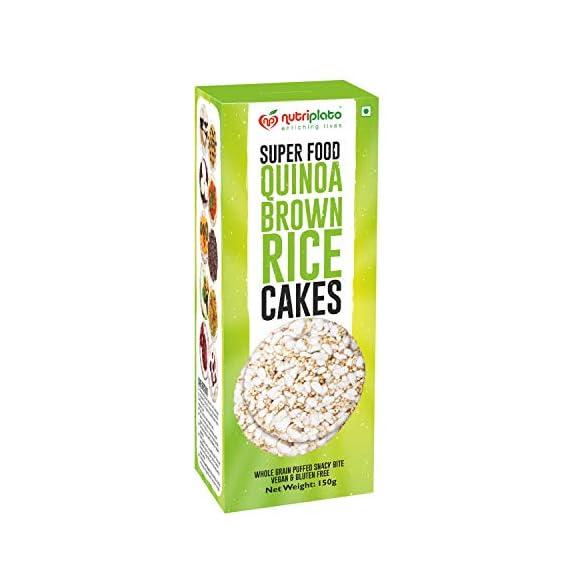Nutriplato-enriching lives Super Food Quinoa Brown Rice Cakes with Himalayan Pink Salt, Vegan & Gluten free 150 g