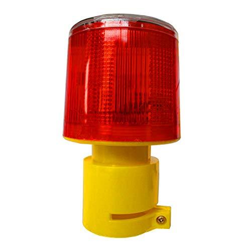 DE-Spark Emergency LED Solar Powered Strobe Warning Light, Road Construction Cone Traffic Light Flicker Beacon Lamp (Round - Flare Smoke Handheld