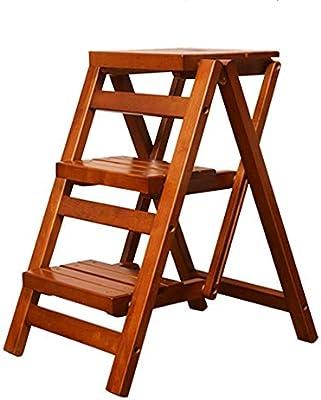 Bseack_store Escalera Escalera Liviana de 3 peldaños con una manija portátil Escalera Plegable de Madera Maciza Taburete Multifuncional for el hogar for la Sala de Estar de la Cocina: Amazon.es: Hogar