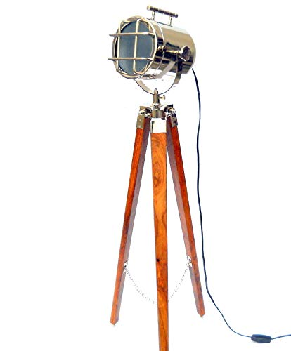 Vintage Tripod Floor Standing Antique LED Searchlight with Wooden Stand Living Room, Bedroom Lamps Home Decor Brown Silver Finish