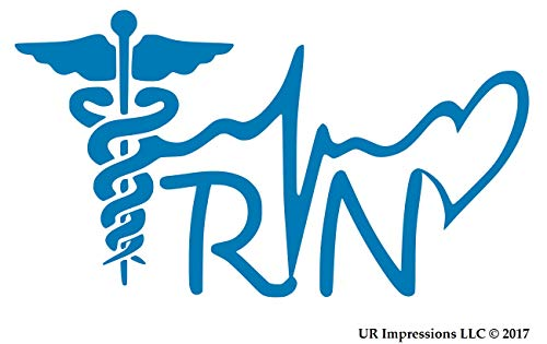 UR Impressions ABlu Registered Nurse RN Caduceus Lifeline Heart Decal Vinyl Sticker Graphics Car Truck SUV Van Wall Window Laptop|Azure Blue|7.5 X 4.1 Inch|URI338 AB