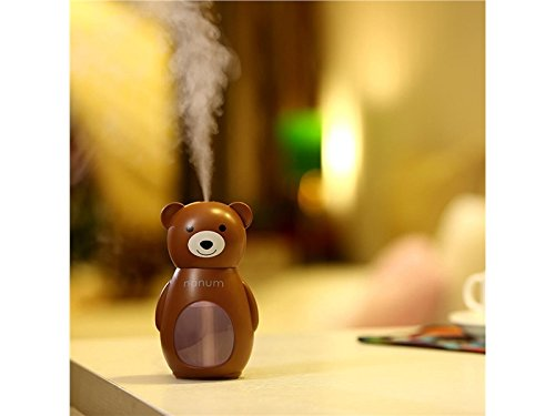 Yunqir Compatible Cute Bear LED Humidifier Air Diffuser Purifier Atomizer Aroma Diffuser(Brown)