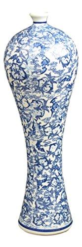 Blue and White Floral Porcelain Vase, China Vase, Decorative Vase, (Ginger White Vases)