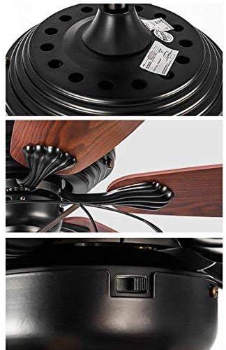 Ciondolo lampadario Industriale Ventilatore Semi Incasso plafoniera Vintage Retro Ventilatore da soffitto Antico 5 lampadine Ventola blad Telecomando,132CM
